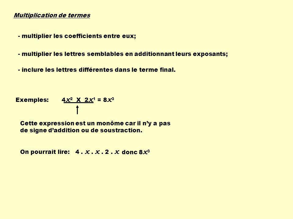Multiplication de termes - multiplier les coefficients entre eux; - multiplier les lettres semblables en additionnant leurs exposants; - inclure les l