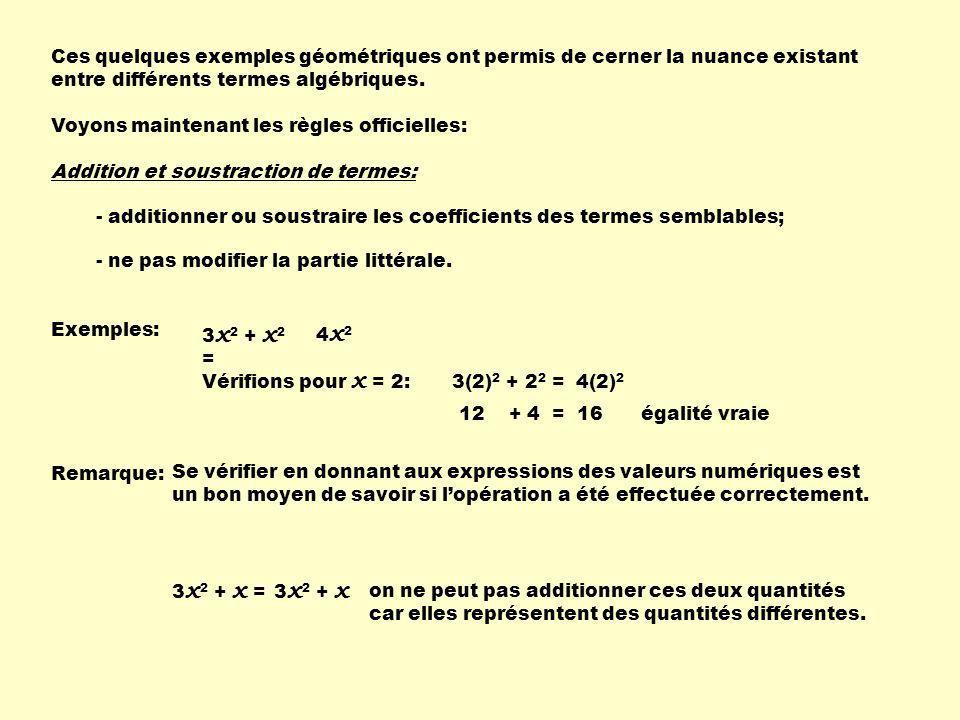 3a 2 + 5b + ( - a 2 + 2b ) =2a 2 + 7b Un + en avant dune parenthèse ne modifie pas les signes des termes à lintérieur si on enlève les parenthèses.