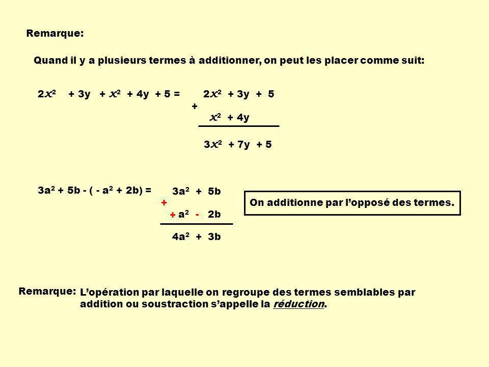 Remarque: 2 x 2 + 3y + x 2 + 4y + 5 = 3 x 2 + 7y + 5 Quand il y a plusieurs termes à additionner, on peut les placer comme suit: 2 x 2 + 3y + 5 + x 2