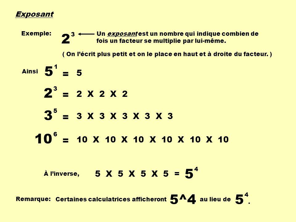 Exposant Un exposant est un nombre qui indique combien de fois un facteur se multiplie par lui-même. Exemple: 2 3 Ainsi 2 3 = 2 X 2 X 2 3 5 = 3 X 3 X