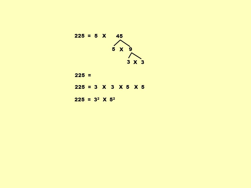225 =5 5 9 X 3 3X X 45 225 = 3 X 3 X 5 X 5 225 = 3 2 X 5 2