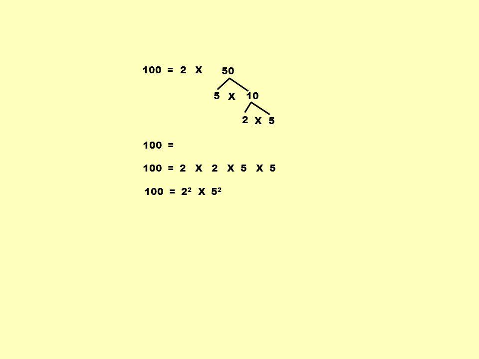 100 =2 5 10 X 2 5X 100 = X 50 100 = 2 X 2 X 5 X 5 100 = 2 2 X 5 2