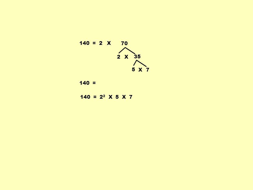 140 =2 2 35 X 5 7X 140 = X 70 140 = 2 2 X 5 X 7