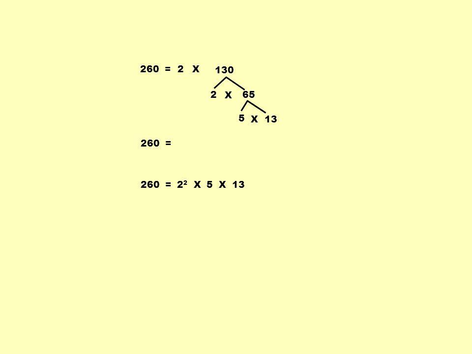 260 =2 2 65 X 5 13X 260 = X 130 260 = 2 2 X 5 X 13