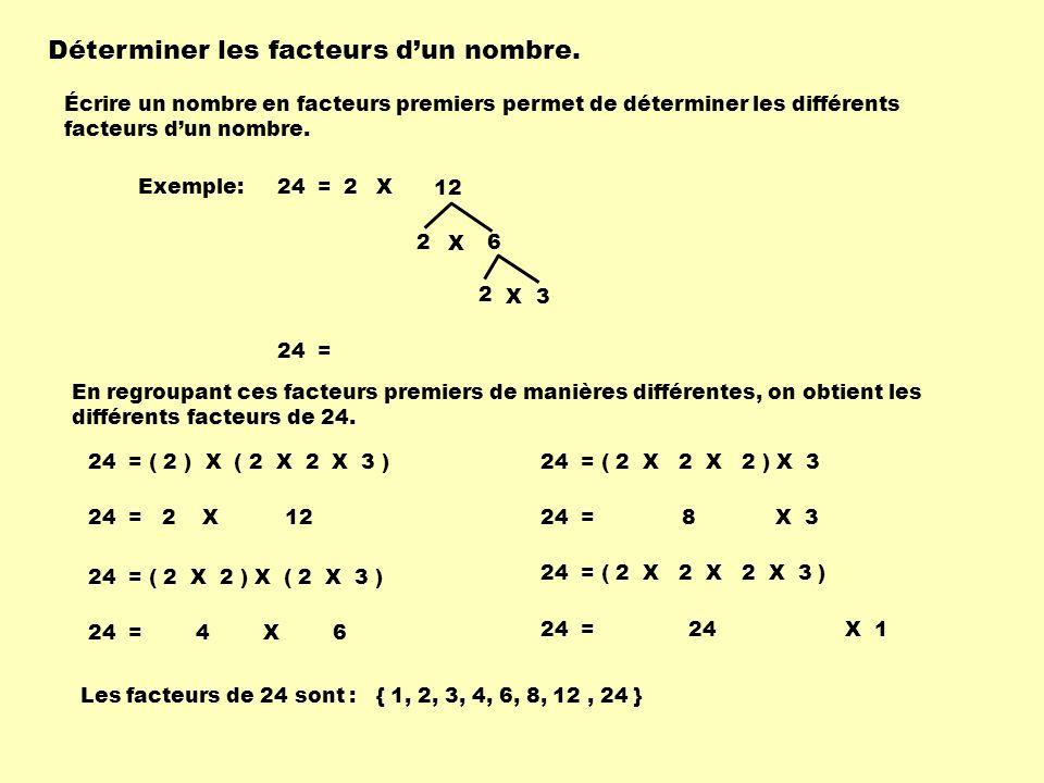 Déterminer les facteurs dun nombre. Écrire un nombre en facteurs premiers permet de déterminer les différents facteurs dun nombre. Exemple:24 =2 2 6 X