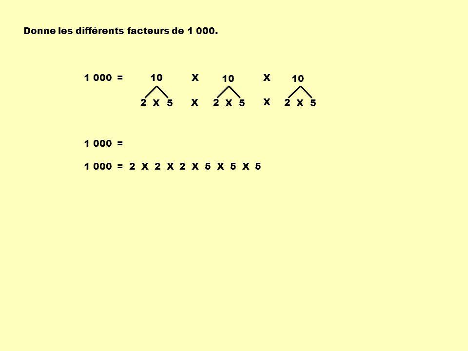 Donne les différents facteurs de 1 000. 1 000 = 2 5X 10X X 2 5X 2 5X X X 1 000 = 1 000 = 2 X 2 X 2 X 5 X 5 X 5