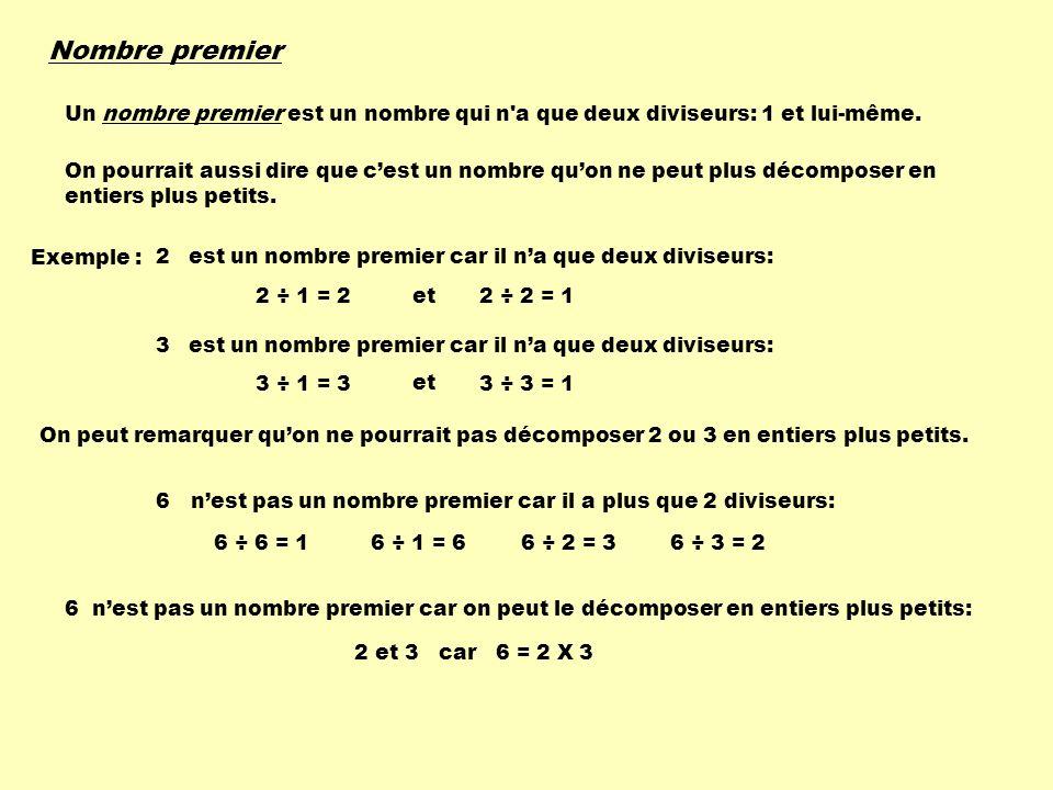 Nombre premier Un nombre premier est un nombre qui n'a que deux diviseurs: 1 et lui-même. On pourrait aussi dire que cest un nombre quon ne peut plus