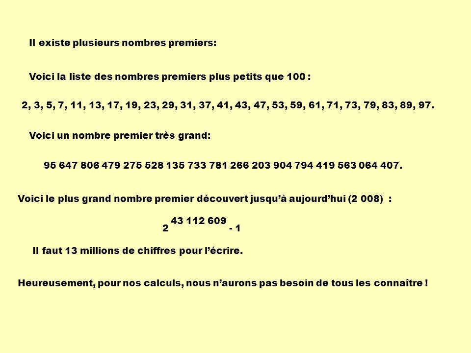 Il existe plusieurs nombres premiers: 2, 3, 5, 7, 11, 13, 17, 19, 23, 29, 31, 37, 41, 43, 47, 53, 59, 61, 71, 73, 79, 83, 89, 97. Voici la liste des n