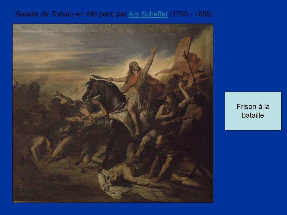 Frison à la bataille Bataille de Tolbiac en 496 peint par Ary Scheffer (1795 - 1858).Ary Scheffer