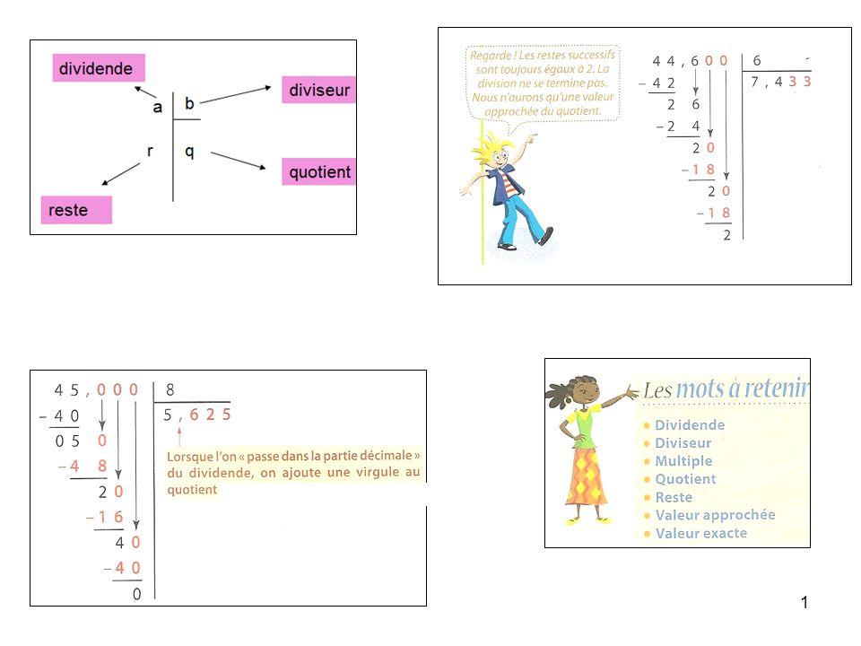2 DIVISIONS 1) La division euclidienne: Définition: Une division euclidienne est une division entre nombres entiers.