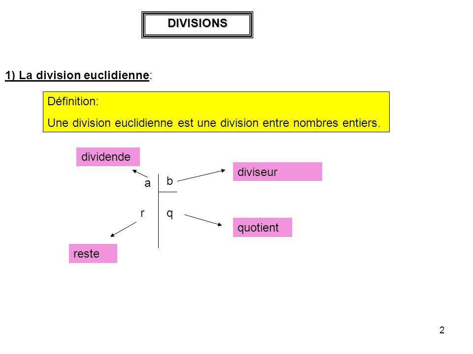 3 1 2 58 1 45 5 5 Légalité euclidienne associée à la division euclidienne est: Dividende = diviseur * quotient + reste 125 = 8*15 + 5 2) Divisions décimales Exemple:
