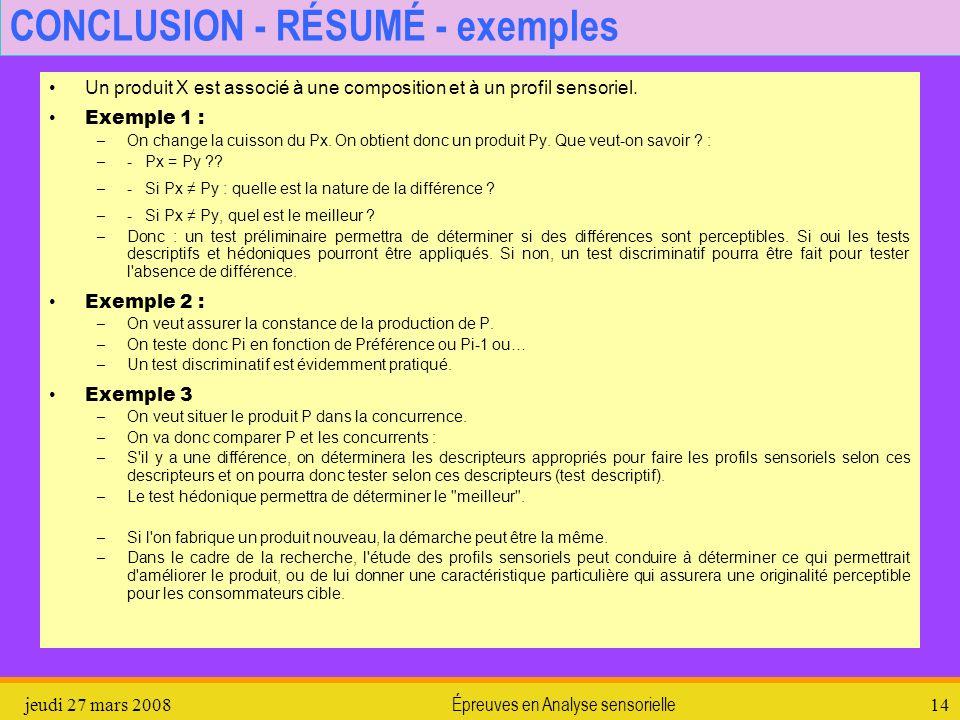 jeudi 27 mars 2008Épreuves en Analyse sensorielle14 CONCLUSION - RÉSUMÉ - exemples Un produit X est associé à une composition et à un profil sensoriel