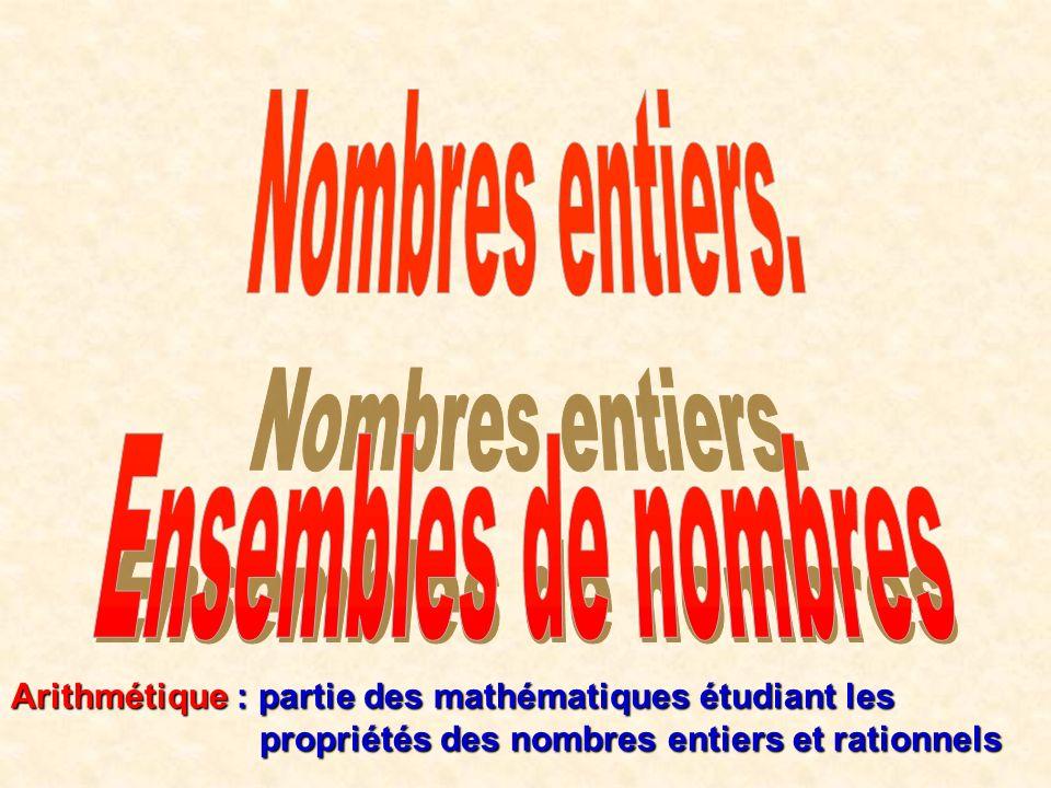 Arithmétique : partie des mathématiques étudiant les propriétés des nombres entiers et rationnels