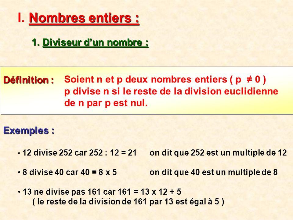 Soient a et b deux nombres entiers, un diviseur commun à a et b est un entier qui divise à la fois a et b.