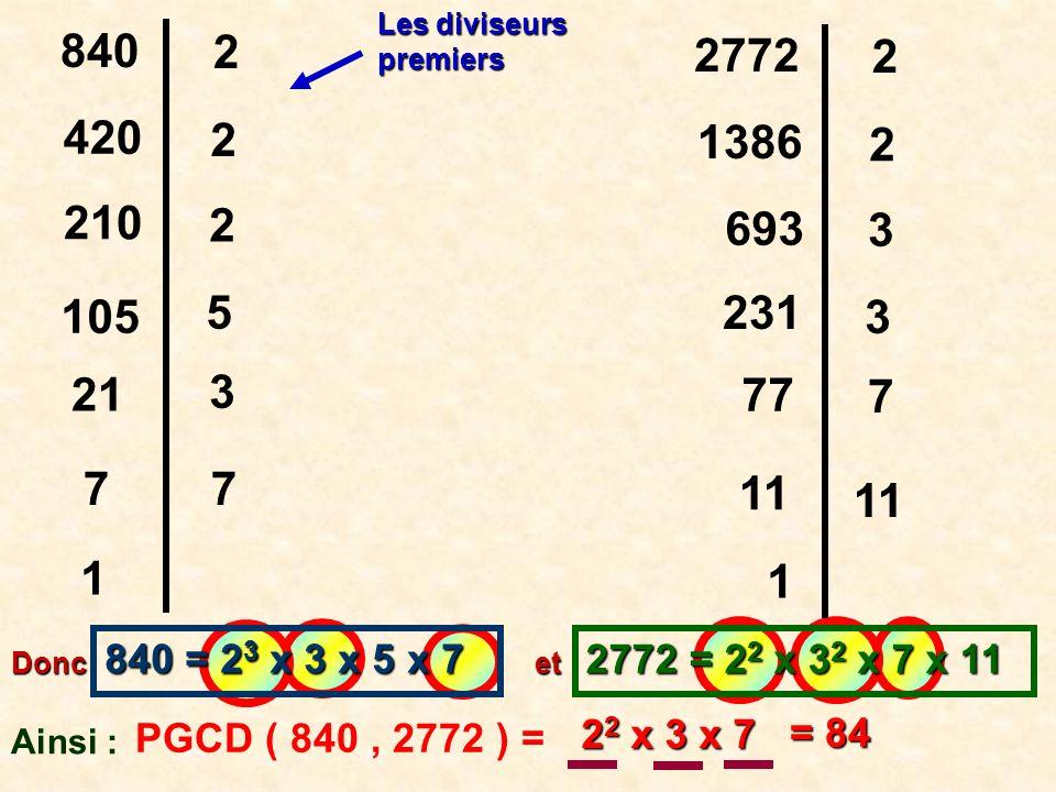 4.Nombres premiers entre eux : Deux nombres sont premiers entre eux si leur PGCD est égal à 1.