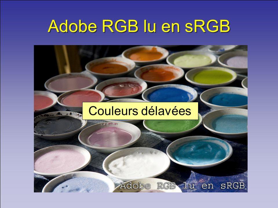 Adobe RGB lu en sRGB Couleurs délavées