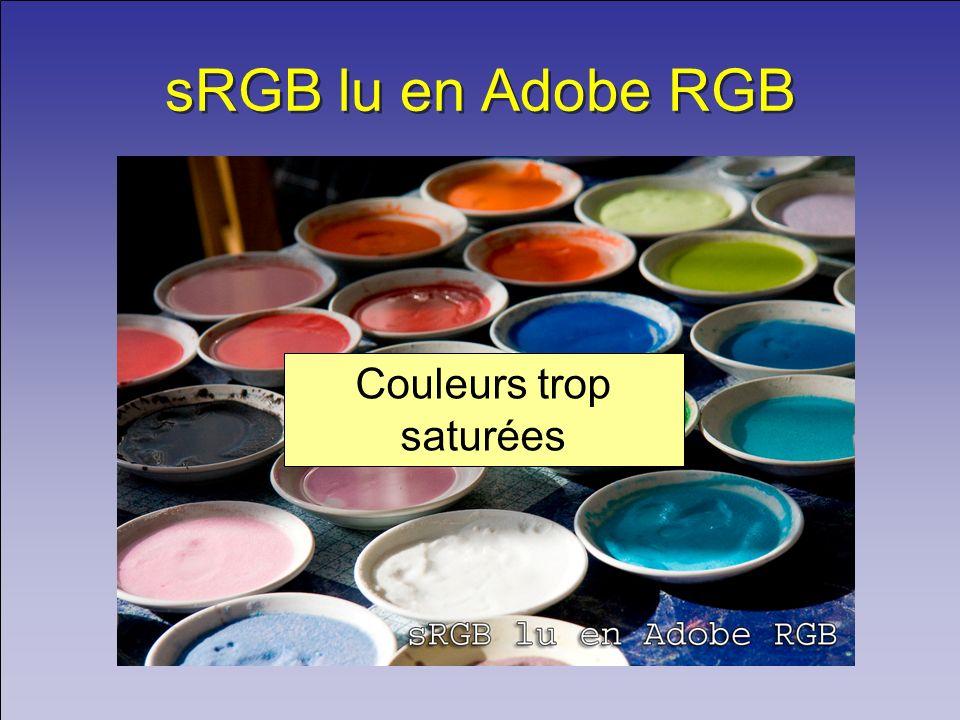 sRGB lu en Adobe RGB Couleurs trop saturées
