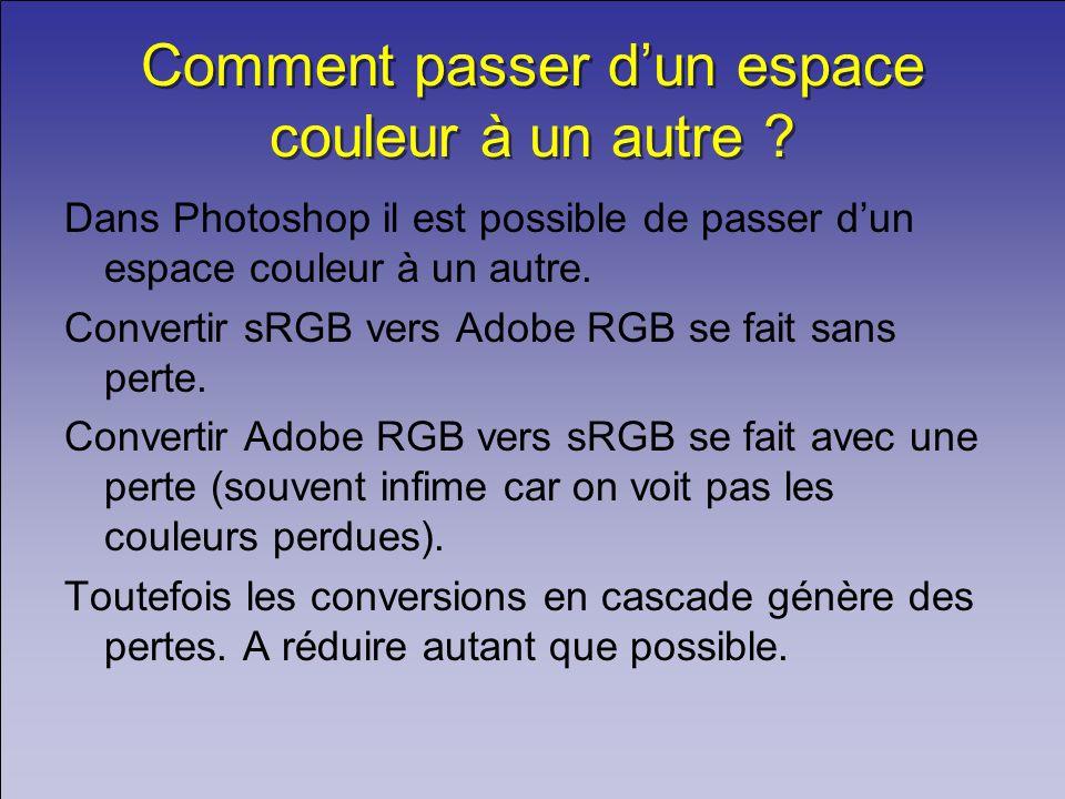 Comment passer dun espace couleur à un autre ? Dans Photoshop il est possible de passer dun espace couleur à un autre. Convertir sRGB vers Adobe RGB s