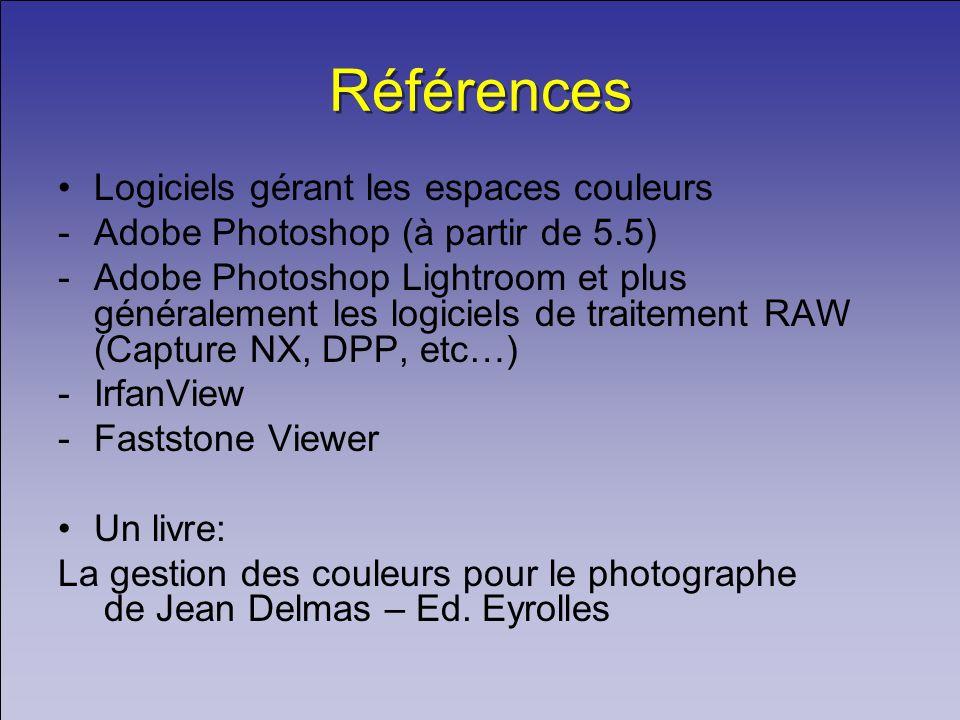 Références Logiciels gérant les espaces couleurs -Adobe Photoshop (à partir de 5.5) -Adobe Photoshop Lightroom et plus généralement les logiciels de t