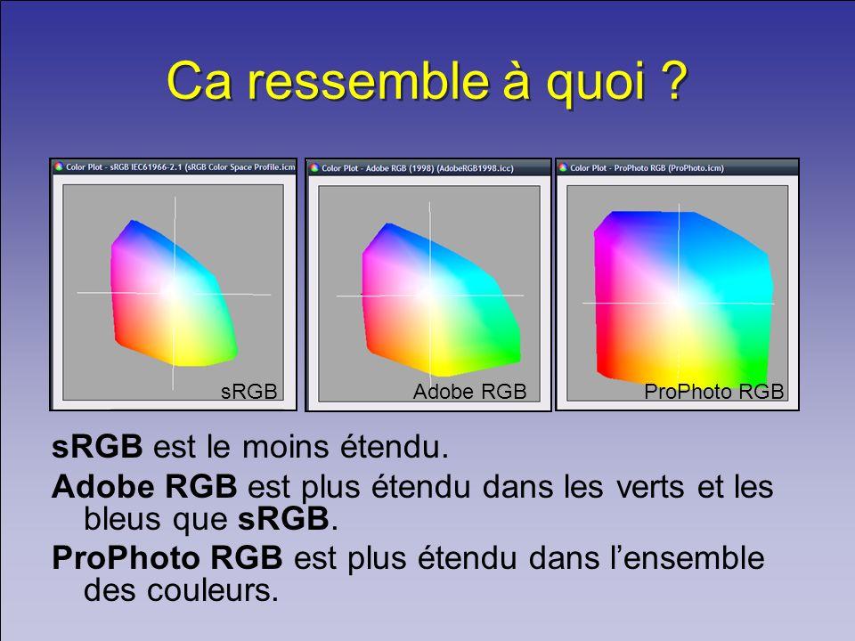 Ca ressemble à quoi ? sRGB est le moins étendu. Adobe RGB est plus étendu dans les verts et les bleus que sRGB. ProPhoto RGB est plus étendu dans lens
