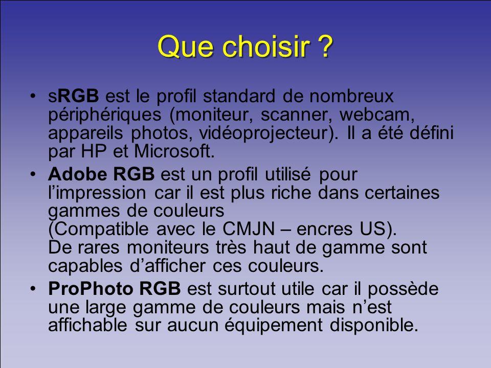 Que choisir ? sRGB est le profil standard de nombreux périphériques (moniteur, scanner, webcam, appareils photos, vidéoprojecteur). Il a été défini pa