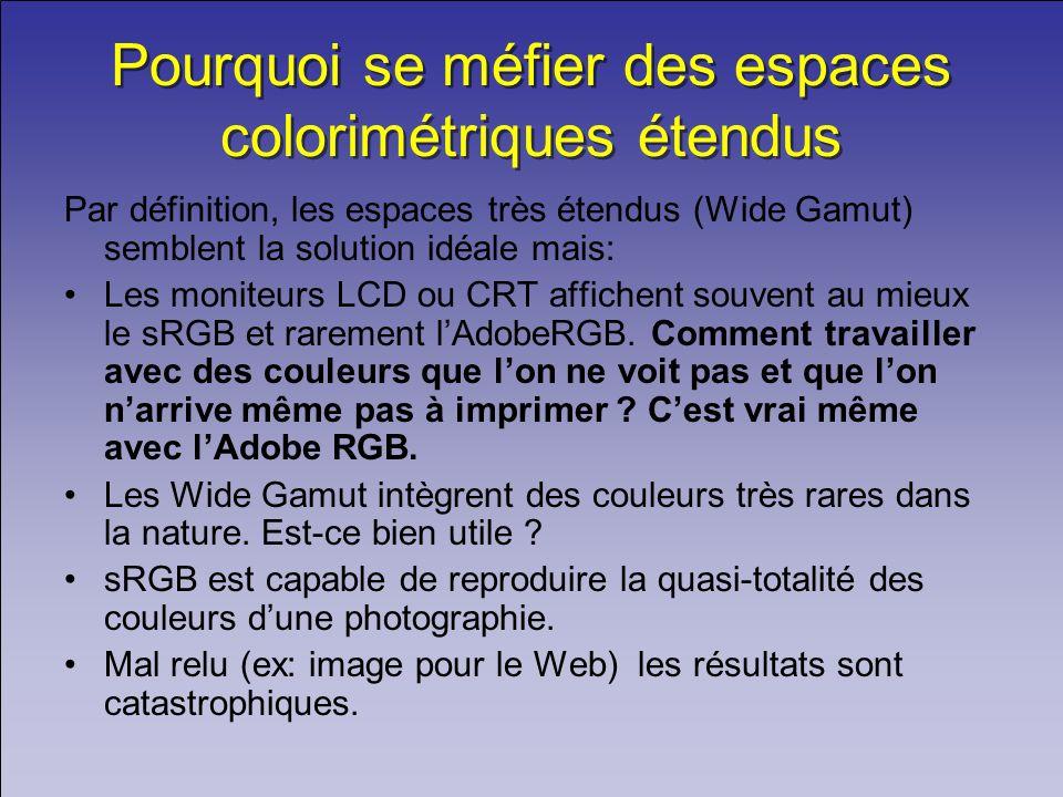 Pourquoi se méfier des espaces colorimétriques étendus Par définition, les espaces très étendus (Wide Gamut) semblent la solution idéale mais: Les mon