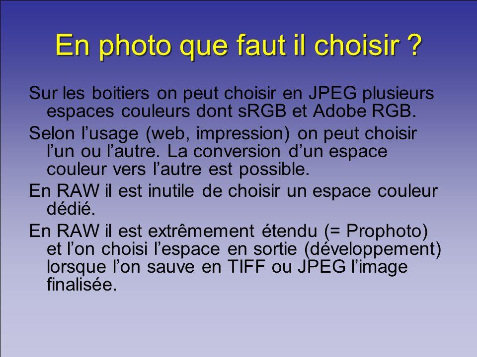 En photo que faut il choisir ? Sur les boitiers on peut choisir en JPEG plusieurs espaces couleurs dont sRGB et Adobe RGB. Selon lusage (web, impressi
