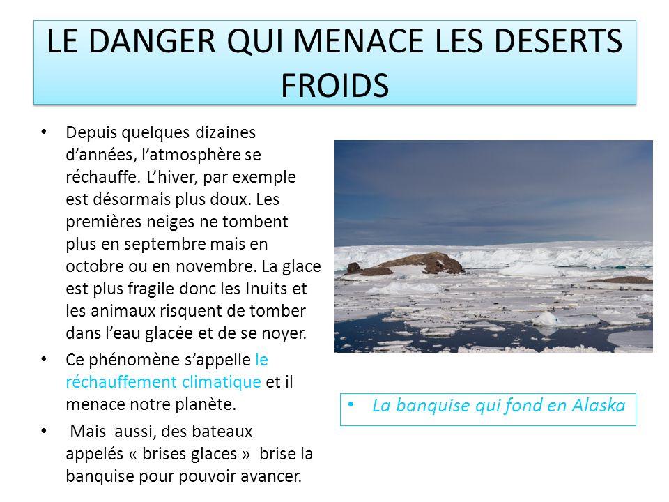 LE DANGER QUI MENACE LES DESERTS FROIDS Depuis quelques dizaines dannées, latmosphère se réchauffe.