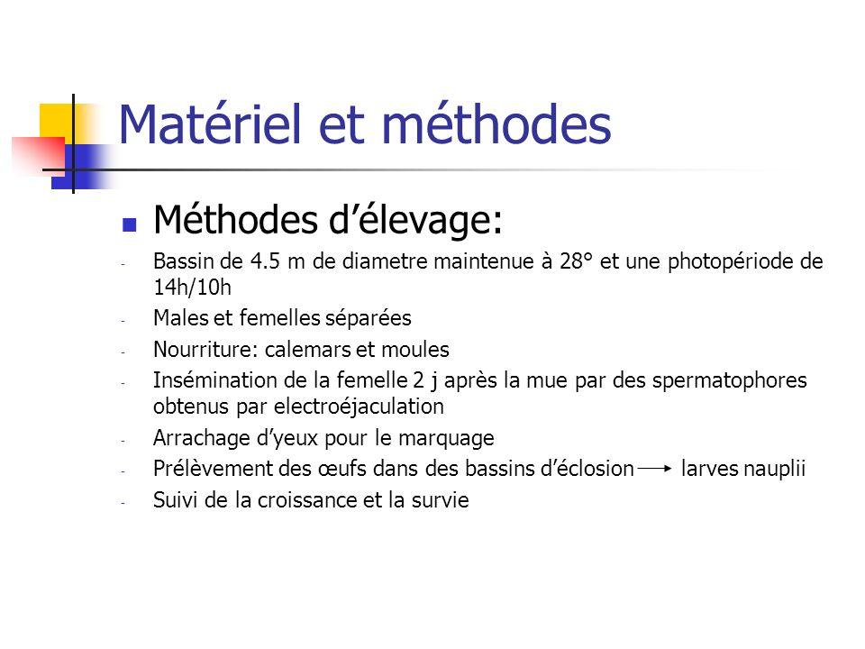 Matériel et méthodes Méthodes délevage: - Bassin de 4.5 m de diametre maintenue à 28° et une photopériode de 14h/10h - Males et femelles séparées - No