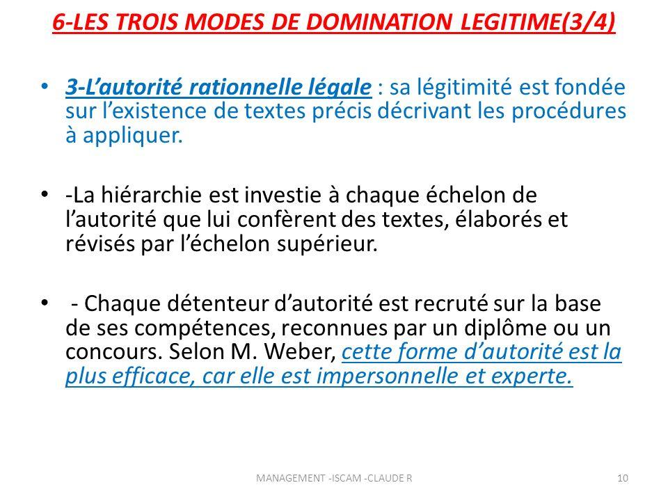 3-Lautorité rationnelle légale : sa légitimité est fondée sur lexistence de textes précis décrivant les procédures à appliquer. -La hiérarchie est inv