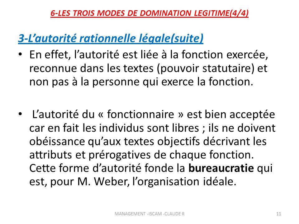 6-LES TROIS MODES DE DOMINATION LEGITIME(4/4) 3-Lautorité rationnelle légale(suite) En effet, lautorité est liée à la fonction exercée, reconnue dans