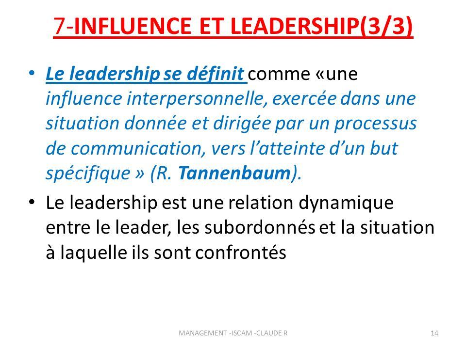 7-INFLUENCE ET LEADERSHIP(3/3) Le leadership se définit comme «une influence interpersonnelle, exercée dans une situation donnée et dirigée par un pro
