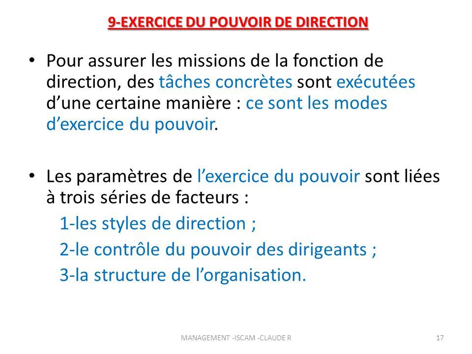 9-EXERCICE DU POUVOIR DE DIRECTION Pour assurer les missions de la fonction de direction, des tâches concrètes sont exécutées dune certaine manière :