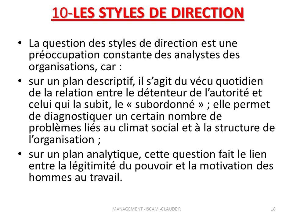 10-LES STYLES DE DIRECTION La question des styles de direction est une préoccupation constante des analystes des organisations, car : sur un plan desc