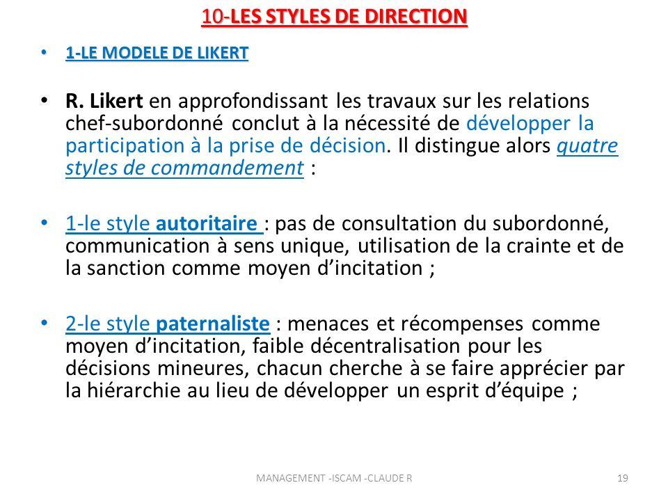 10-LES STYLES DE DIRECTION 1-LE MODELE DE LIKERT 1-LE MODELE DE LIKERT R. Likert en approfondissant les travaux sur les relations chef-subordonné conc