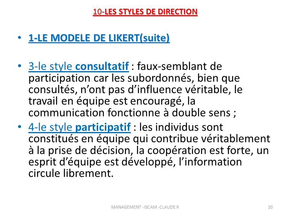 10-LES STYLES DE DIRECTION 1-LE MODELE DE LIKERT(suite) 1-LE MODELE DE LIKERT(suite) 3-le style consultatif : faux-semblant de participation car les s