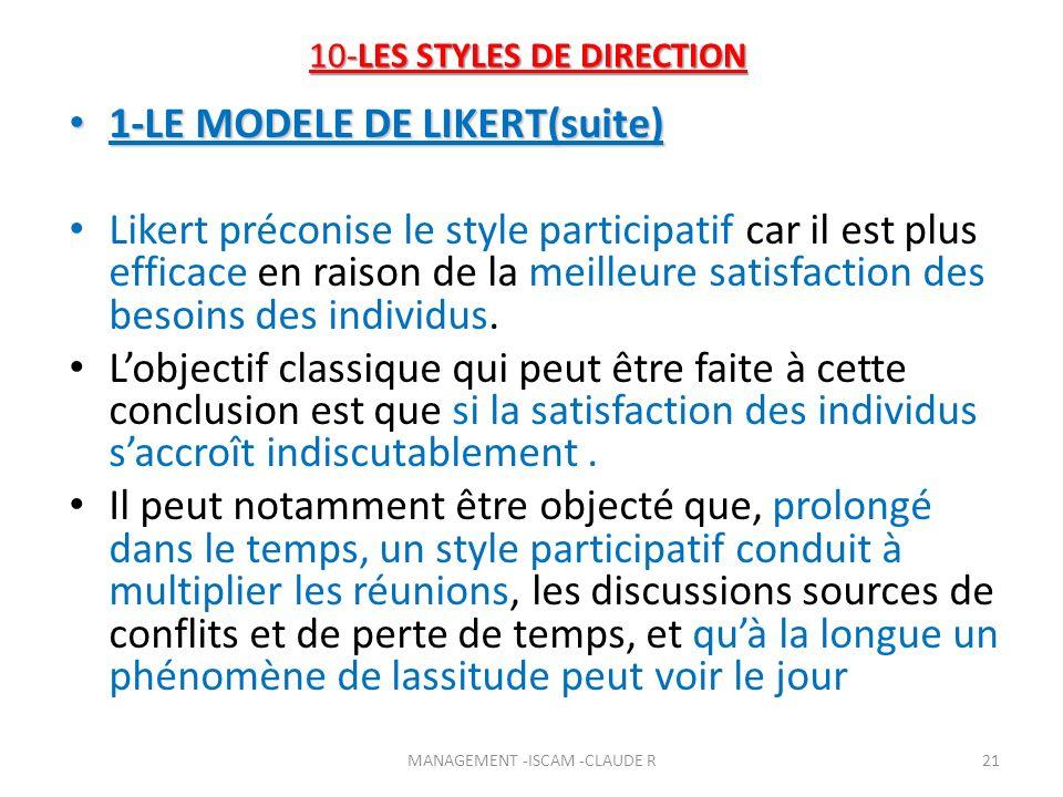 10-LES STYLES DE DIRECTION 1-LE MODELE DE LIKERT(suite) 1-LE MODELE DE LIKERT(suite) Likert préconise le style participatif car il est plus efficace e