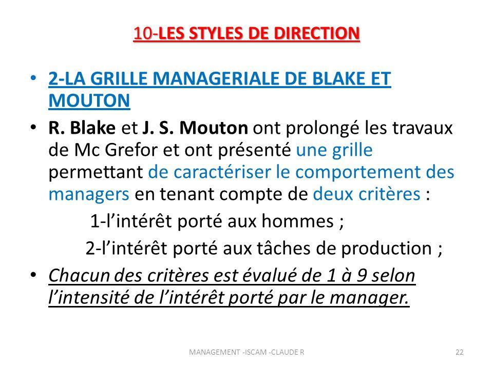 10-LES STYLES DE DIRECTION 2-LA GRILLE MANAGERIALE DE BLAKE ET MOUTON R. Blake et J. S. Mouton ont prolongé les travaux de Mc Grefor et ont présenté u