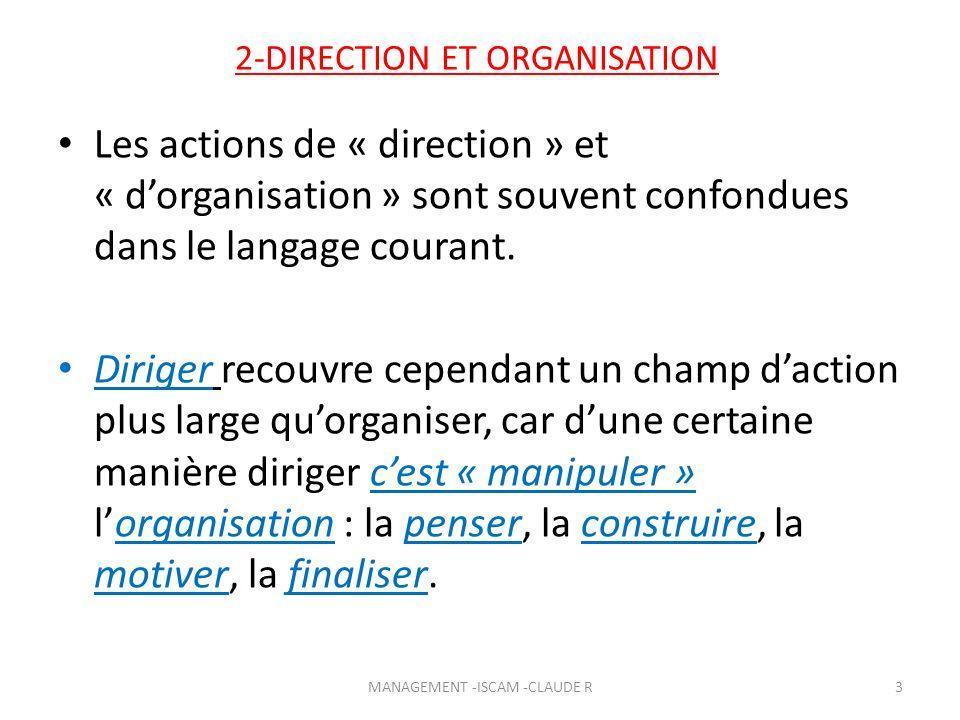2-DIRECTION ET ORGANISATION Les actions de « direction » et « dorganisation » sont souvent confondues dans le langage courant. Diriger recouvre cepend