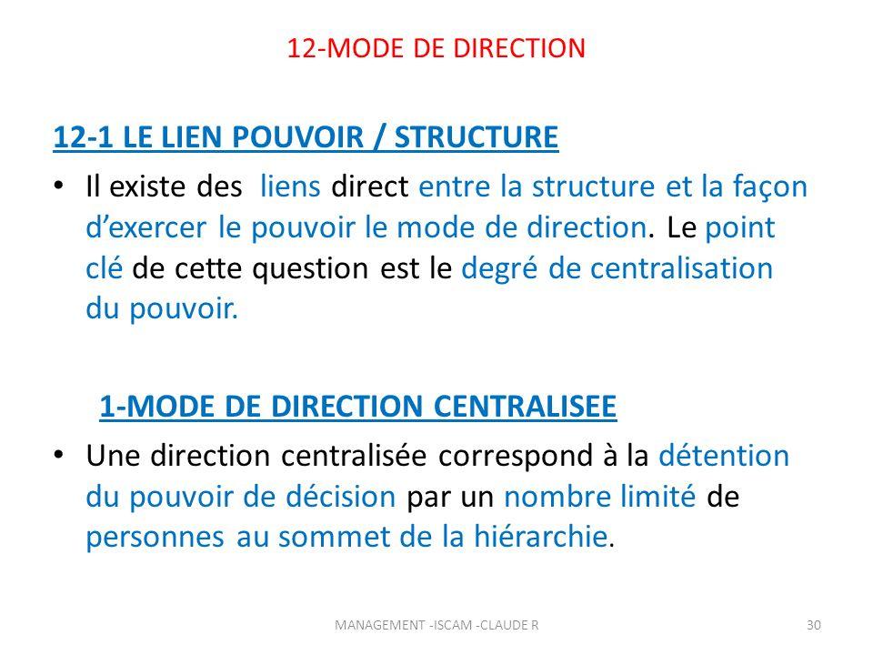 12-MODE DE DIRECTION 12-1 LE LIEN POUVOIR / STRUCTURE Il existe des liens direct entre la structure et la façon dexercer le pouvoir le mode de directi