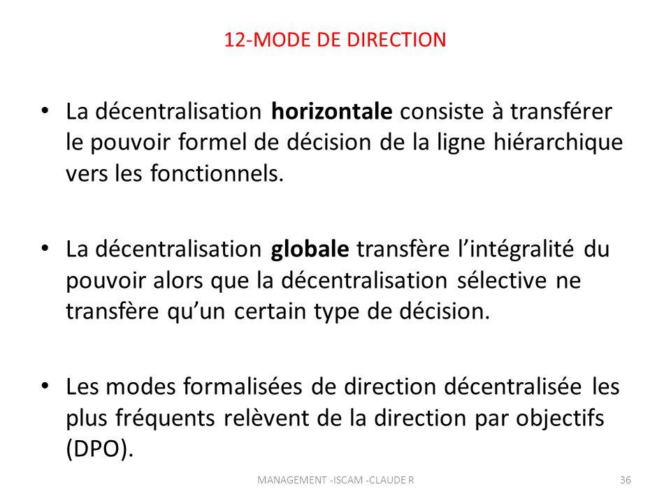 12-MODE DE DIRECTION La décentralisation horizontale consiste à transférer le pouvoir formel de décision de la ligne hiérarchique vers les fonctionnel