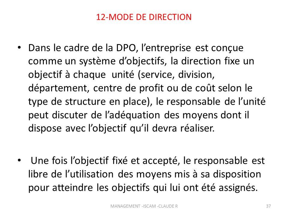 12-MODE DE DIRECTION Dans le cadre de la DPO, lentreprise est conçue comme un système dobjectifs, la direction fixe un objectif à chaque unité (servic