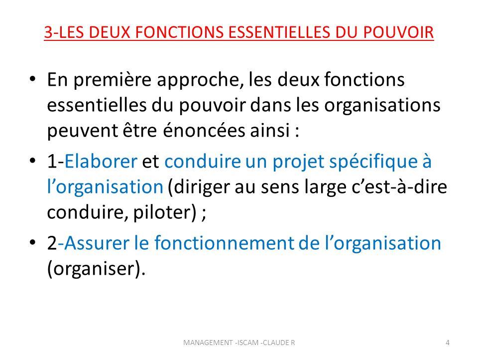 3-LES DEUX FONCTIONS ESSENTIELLES DU POUVOIR En première approche, les deux fonctions essentielles du pouvoir dans les organisations peuvent être énon