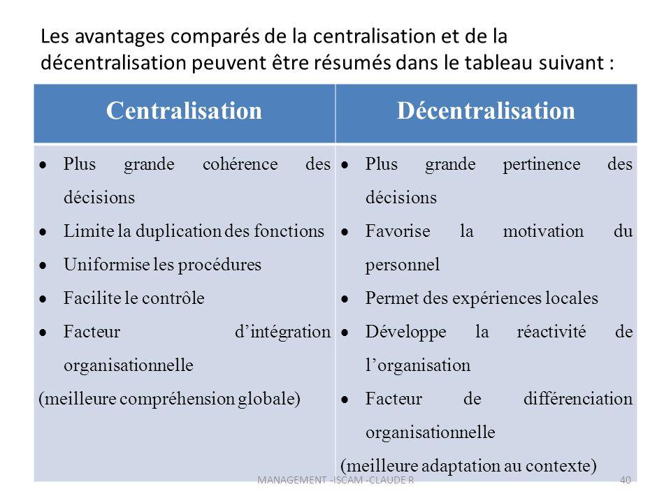 Les avantages comparés de la centralisation et de la décentralisation peuvent être résumés dans le tableau suivant : CentralisationDécentralisation Pl