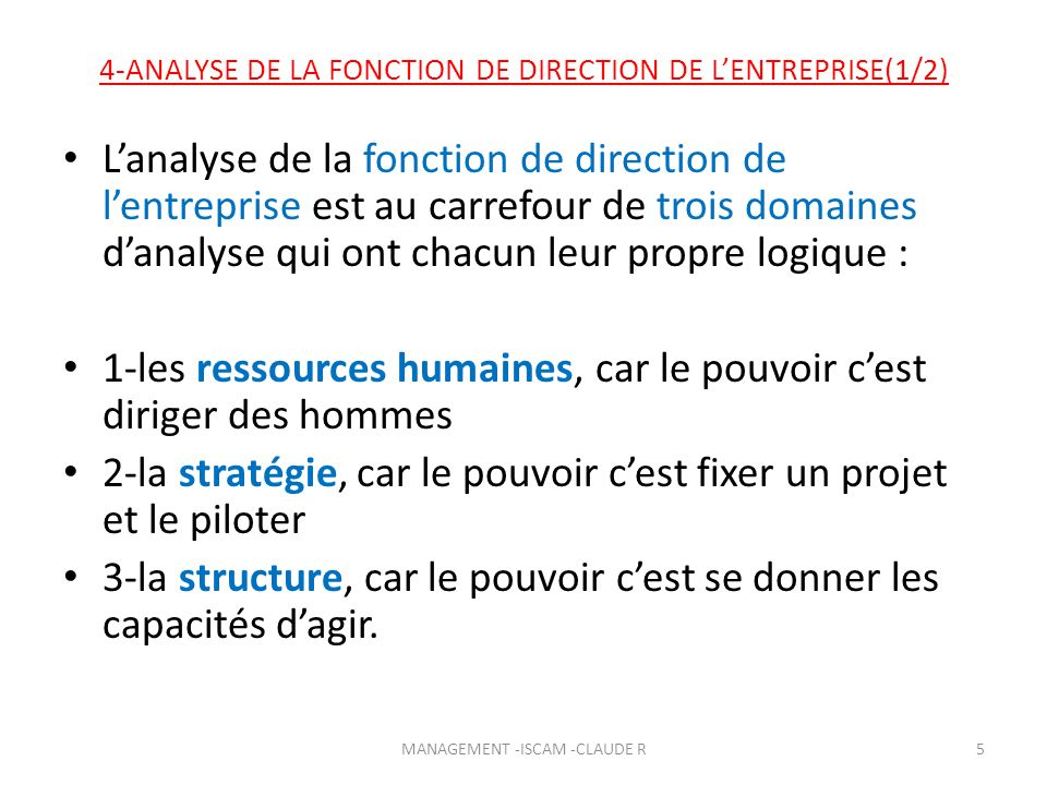 4-ANALYSE DE LA FONCTION DE DIRECTION DE LENTREPRISE(2/2) Définir la fonction de direction, cest à la base, sur le plan technique, analyser : les fondements du pouvoir, sur quoi repose-t-il dans une organisation .