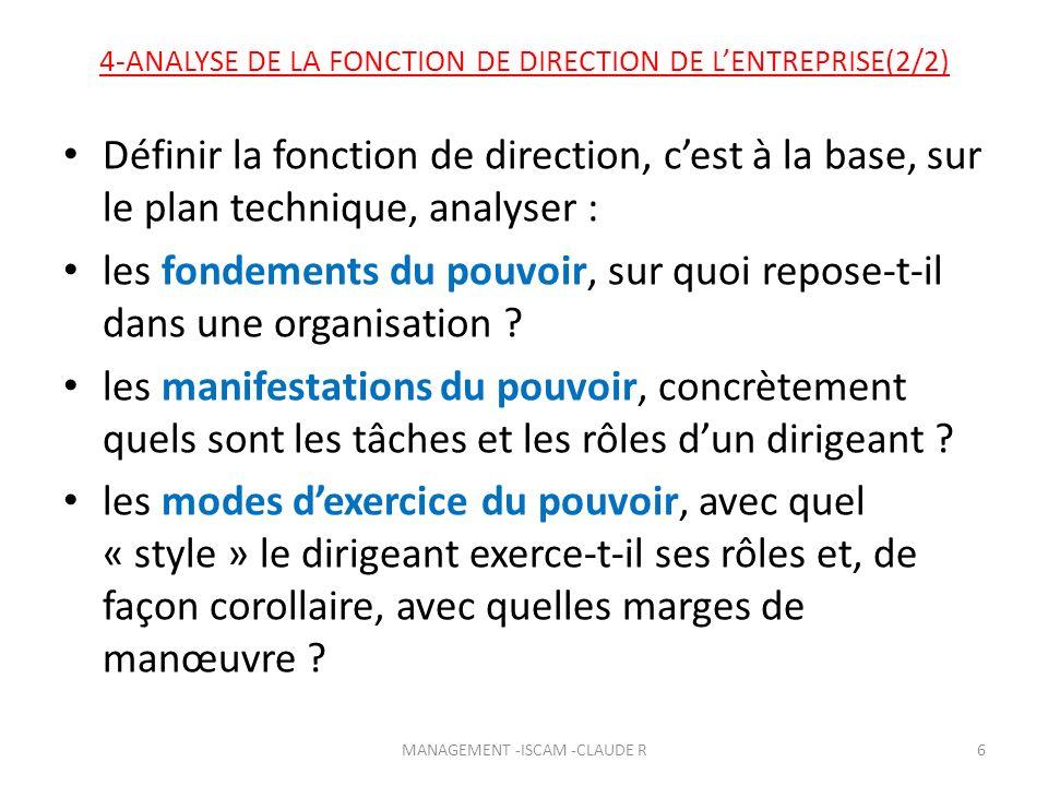 4-ANALYSE DE LA FONCTION DE DIRECTION DE LENTREPRISE(2/2) Définir la fonction de direction, cest à la base, sur le plan technique, analyser : les fond