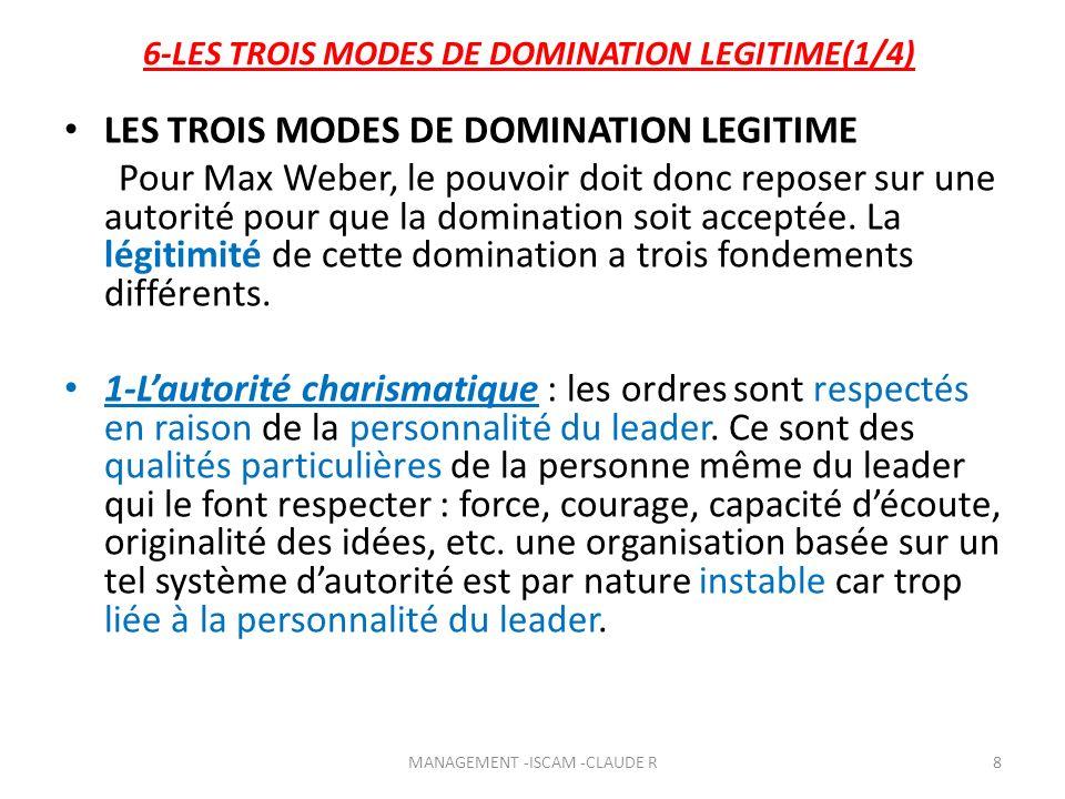 6-LES TROIS MODES DE DOMINATION LEGITIME(1/4) LES TROIS MODES DE DOMINATION LEGITIME Pour Max Weber, le pouvoir doit donc reposer sur une autorité pou
