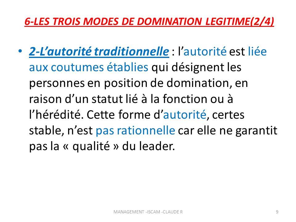 6-LES TROIS MODES DE DOMINATION LEGITIME(2/4) 2-Lautorité traditionnelle : lautorité est liée aux coutumes établies qui désignent les personnes en pos