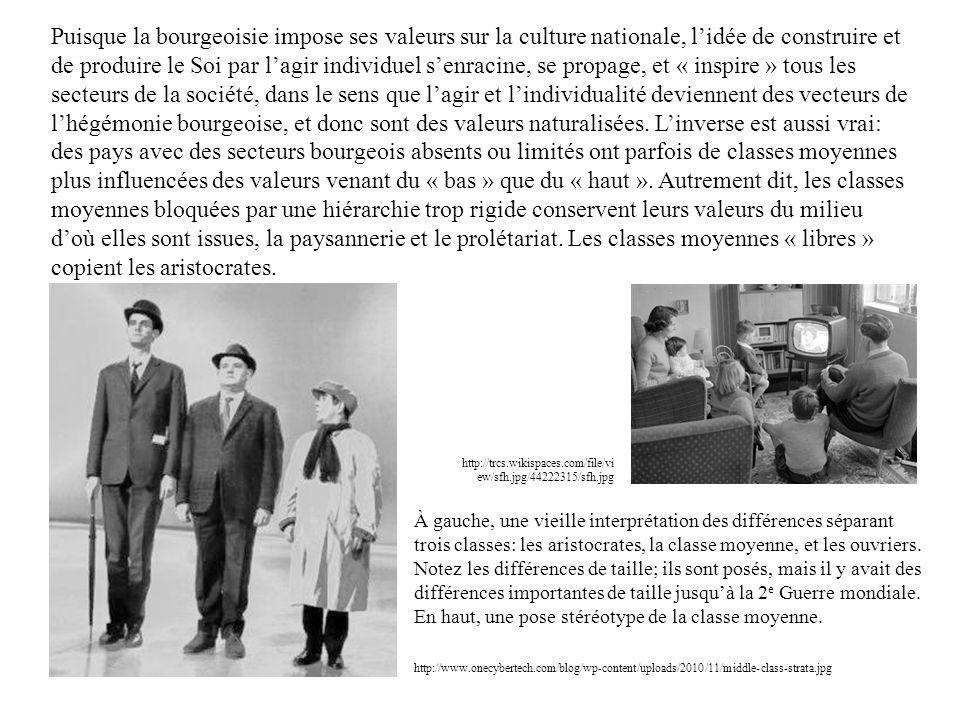 Puisque la bourgeoisie impose ses valeurs sur la culture nationale, lidée de construire et de produire le Soi par lagir individuel senracine, se propa