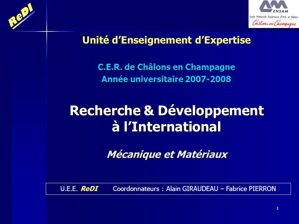 ReDI 1 Recherche & Développement à lInternational Mécanique et Matériaux U.E.E. ReDI Coordonnateurs : Alain GIRAUDEAU – Fabrice PIERRON